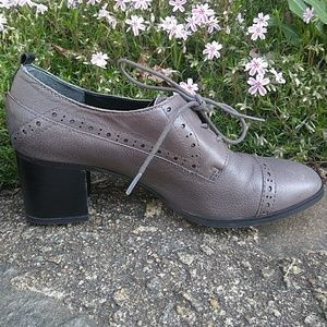 Franco Sarto Gray  Leather Oxford Heels